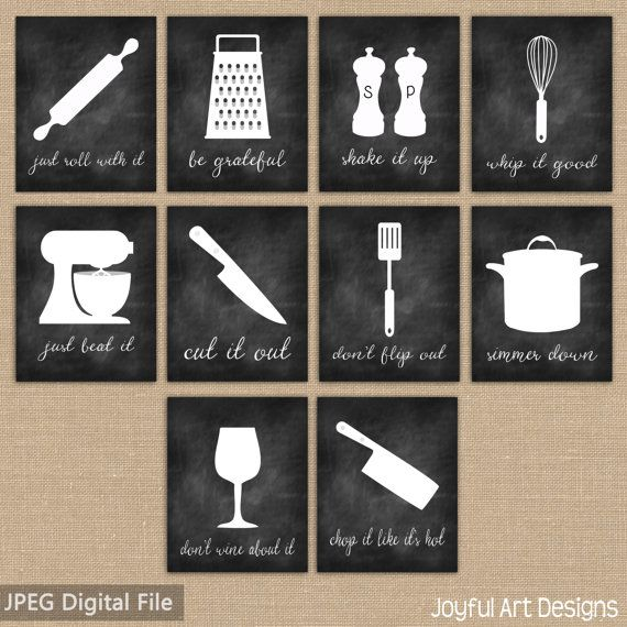 Kitchen Decor Printable Signs Set Of Chalkboard Kitchen Utensil Art Decor Just Roll With It Whip It Good Be Grateful Just Beat It Wine