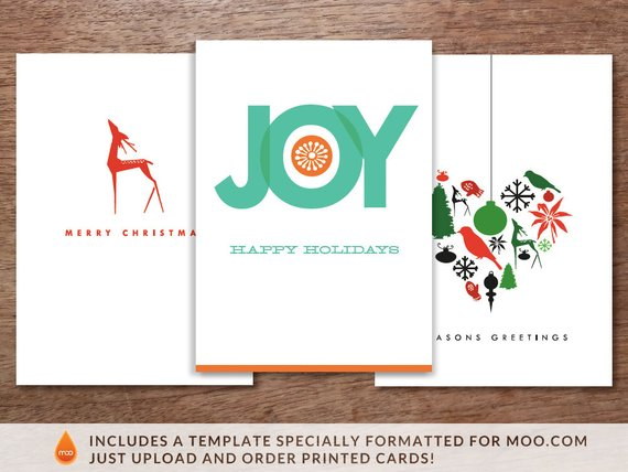 Printable Christmas Cards - 3 Pack - Big Joy, Red Deer and Heart of