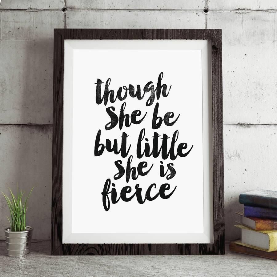 Little But Fierce Wall Print Typography Inspirational Motivational Quote Art