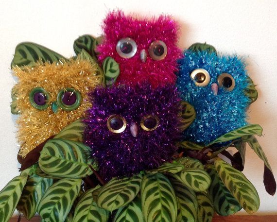 Soft Owl.. Sparkly Owl. Knitted Tinsel Owl. by CraftyJoes on Etsy