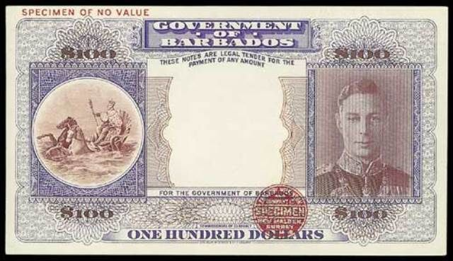 Value Of 1st June 1943 100 Bank Note From Barbados Antique Money