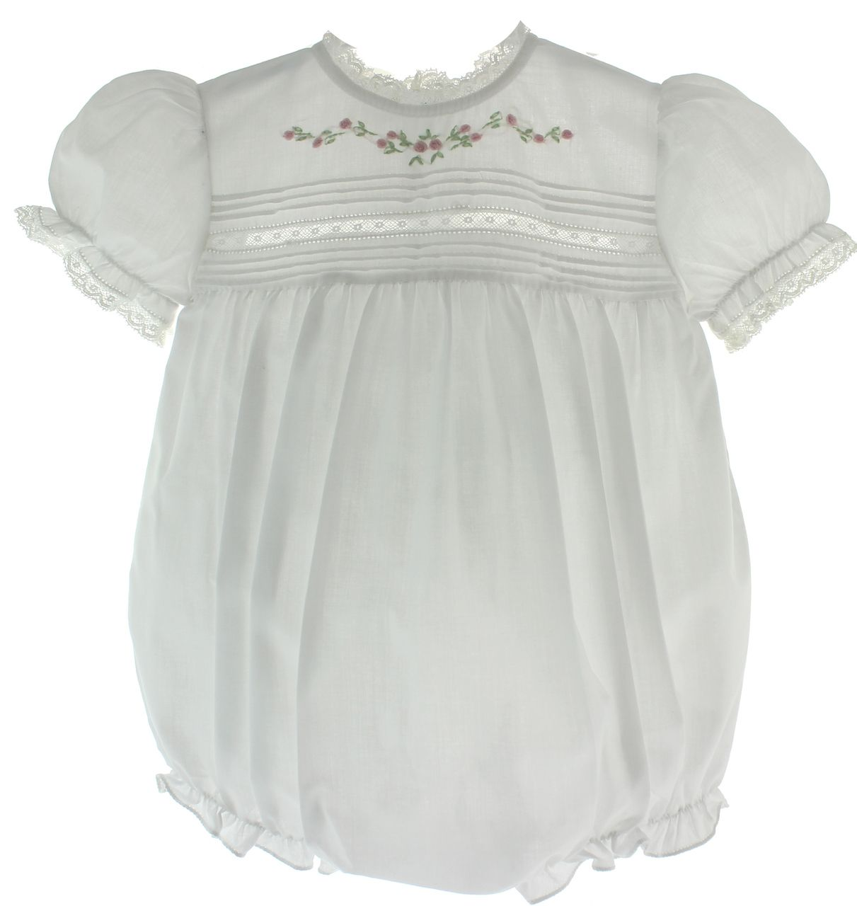Hiccups Childrens Boutique - Infant Girls White Heirloom Bubble Outfit Pink Flowers Lace Trim Feltman Brothers, $48.00 (https://www.hiccupschildrensboutique.com/infant-girls-white-heirloom-bubble-outfit-pink-flowers-lace-trim-feltman-brothers/)