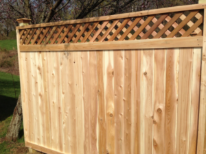 6 Cedar Lattice Top Privacy Fence 1 X 5 Tongue Groove Boards Fence With Lattice Top Privacy Fence Landscaping Wood Fence