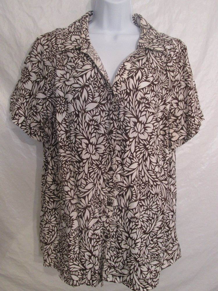 40e7d553 1X Plus Size*Kim Rogers*Linen Short Sleeve Button Front Floral Top Shirt  Blouse #KimRogers #ButtonDownShirt #Casual
