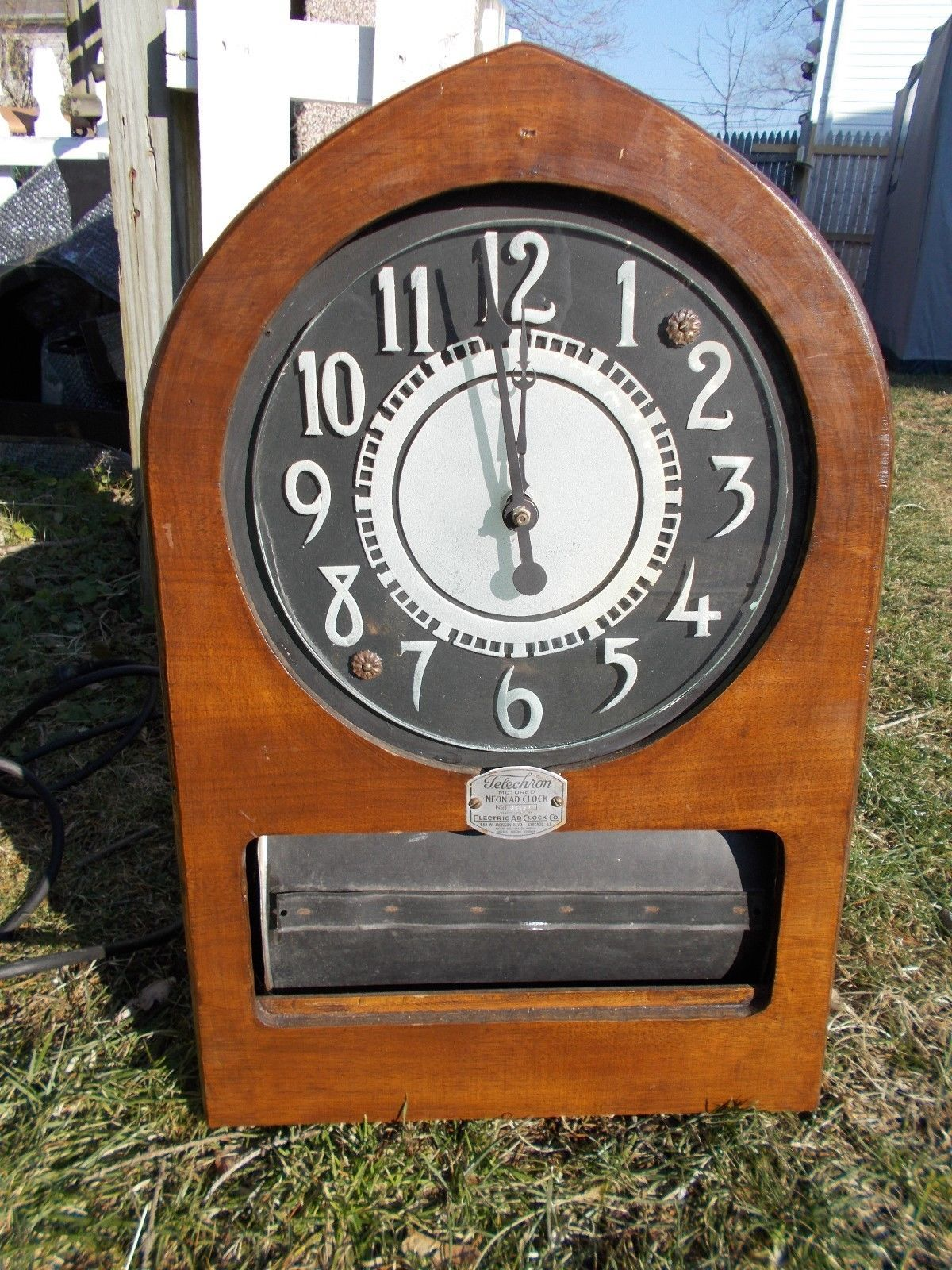Vintage Telechron Neon Advertising Cathedral Clock Mid