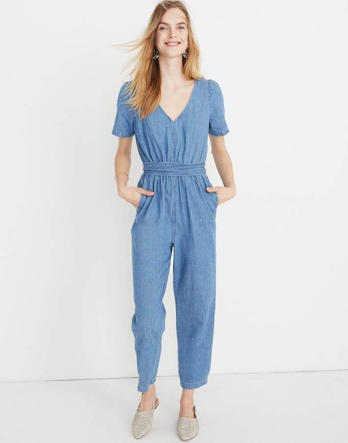 332804d50bbf Madewell Petite Denim Puff-Sleeve Tapered Jumpsuit in 2019 ...