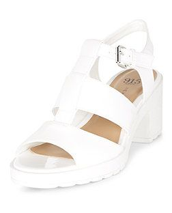 f6a04e858dc00f Teens White Caged Chunky Block Heel Sandals
