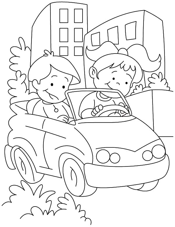 Couple Kids Learn Driving Car Coloring Pages Best Place To Color Hello Kitty Colouring Pages Cars Coloring Pages Kitty Coloring