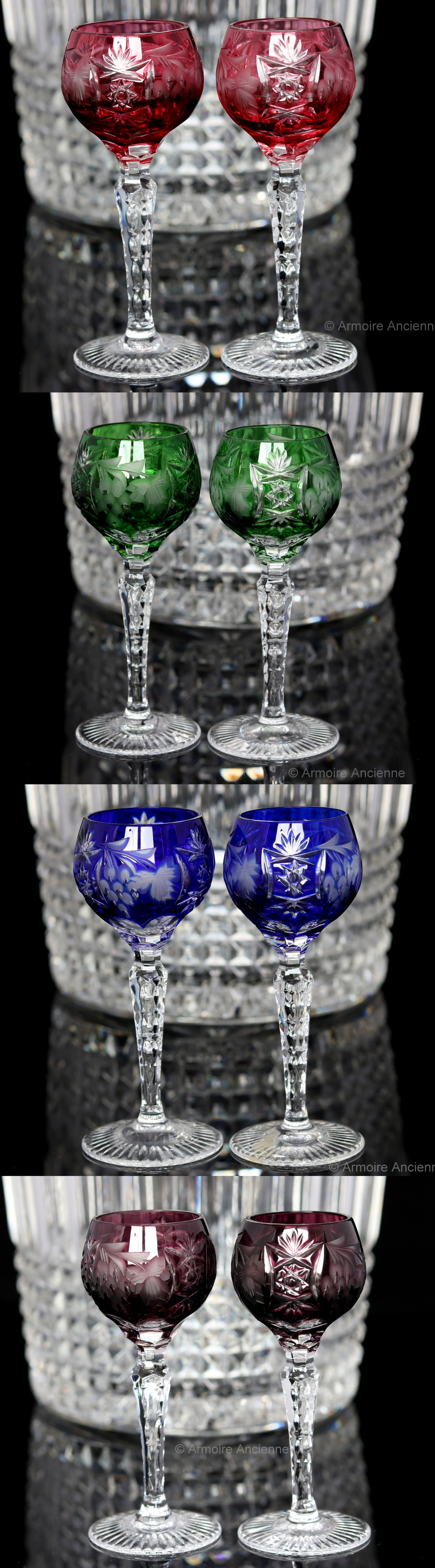 BUY on ETSY: Cobalt Blue Cut Crystal Liquor Glasses, Cordial Glasses, Grapes Decor, Set of 2