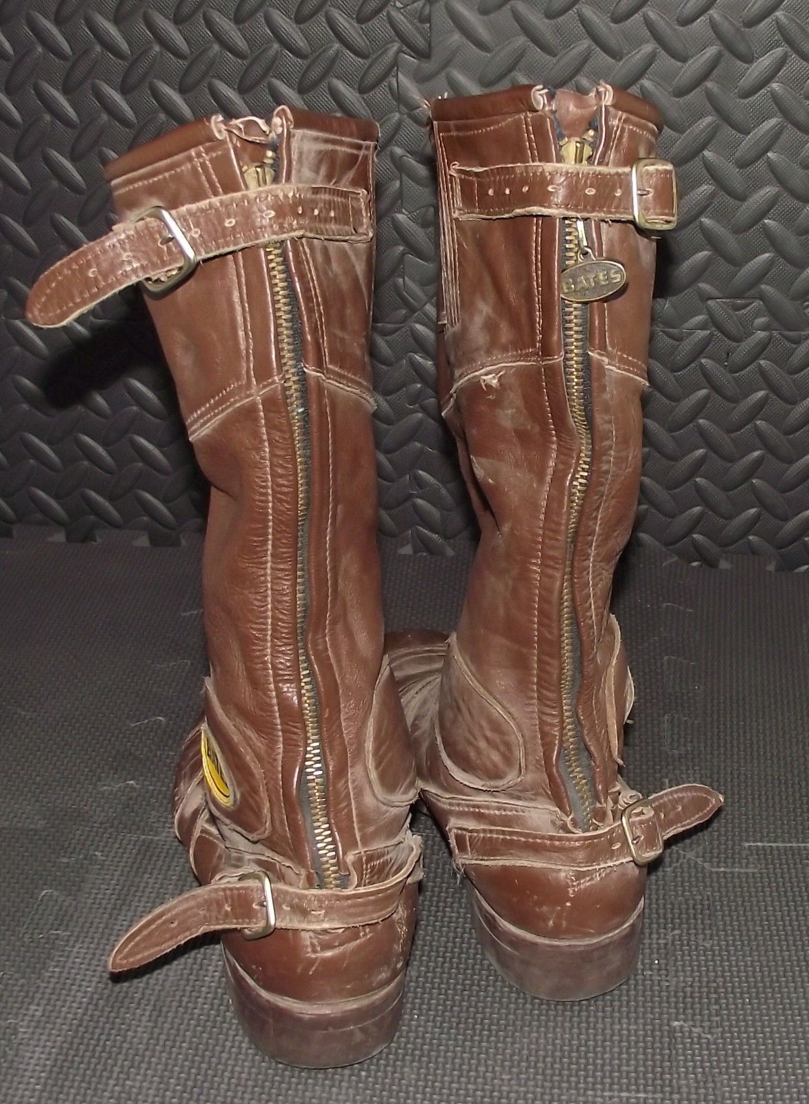 VINTAGE BATES MOTORCYCLE LEATHER BOOTS MENS SIZE 8.5 MADE IN USA L ...