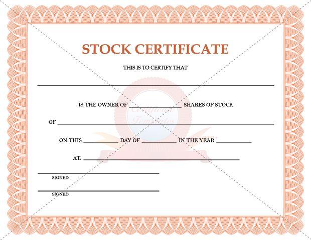 Stock Certificate Template – Stock Certificate Template