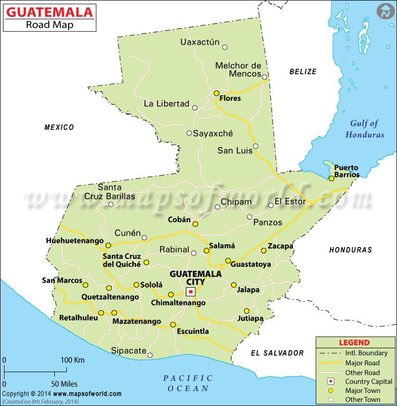 Guatemala Road Map Legende