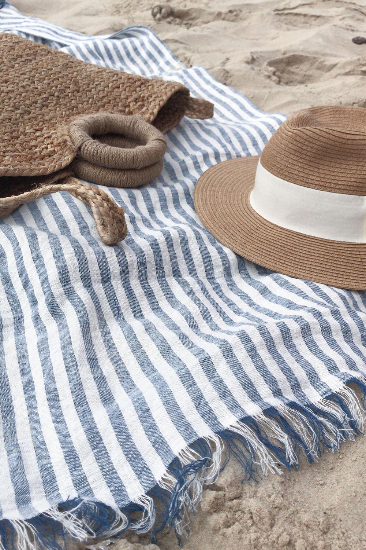 Linen Beach Mat Beach Linens Beach Towel Blue Towels