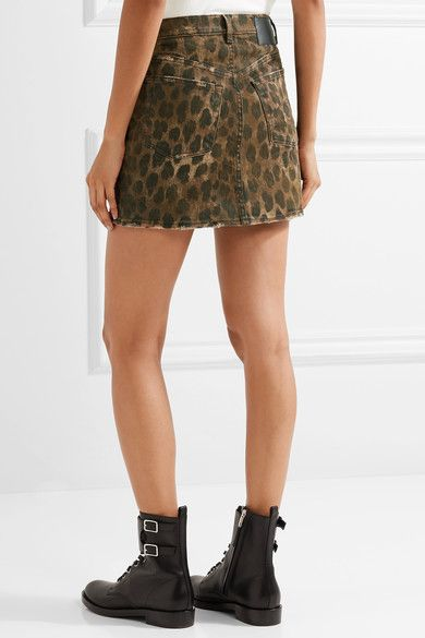 acbd1aa6e R13 - Distressed Leopard-print Denim Mini Skirt - Leopard print ...