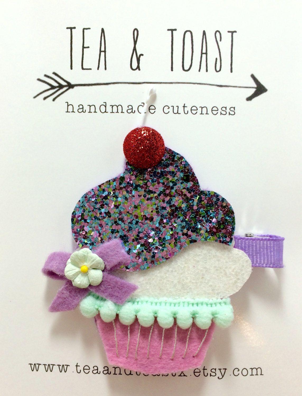 Felt Hair Accessories Diy - Felt hair clip glitter cupcake hair clip birthday cupcake teaandtoast by teaandtoastx on
