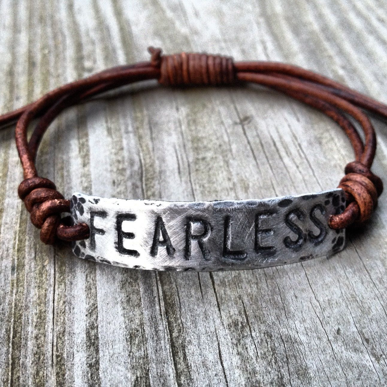 Fearless Id Bracelet, Silver, Pewter, Leather, Hand Stamped, Inspirational  Jewelry, Bracelet With Words, Girlfriend Gift, Boyfriend Gift
