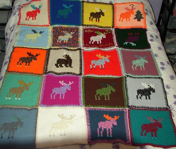 Psychedelic Moose Is Crocheted Afghan Of Twenty Squares