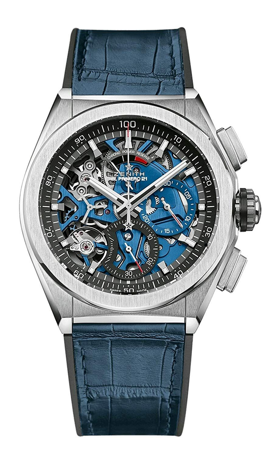 Zenith Mens Defy El Primero 21 44mm Titanium Skeleton Blue Watch ... e5e656c758d
