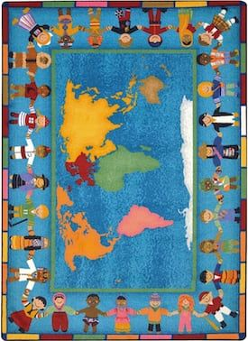 Joy Carpets Multi Kid Essentials Hands Around The World Rug Kids Rectangle 5 4 X 7 8 Rugs Classroom Carpets