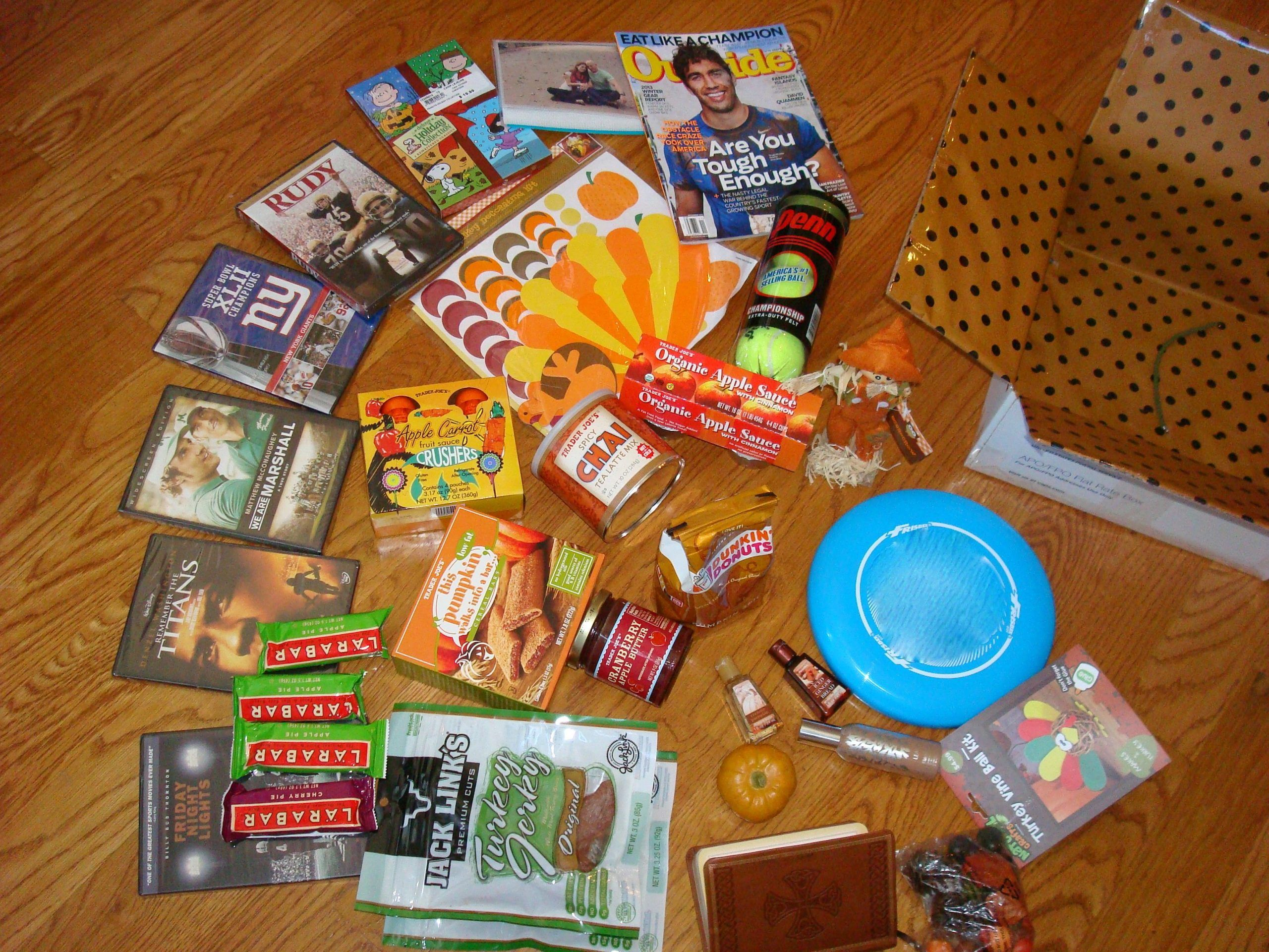 Thanksgiving care package... no television doesn't mean no football on Thanksgiv...#care #doesnt #football #package #television #thanksgiv #thanksgiving