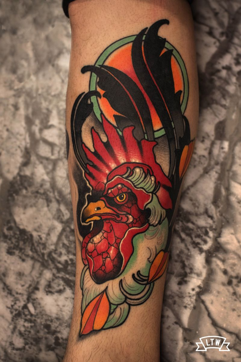 Neo traditional tattoo of a rooster by Leah Neo