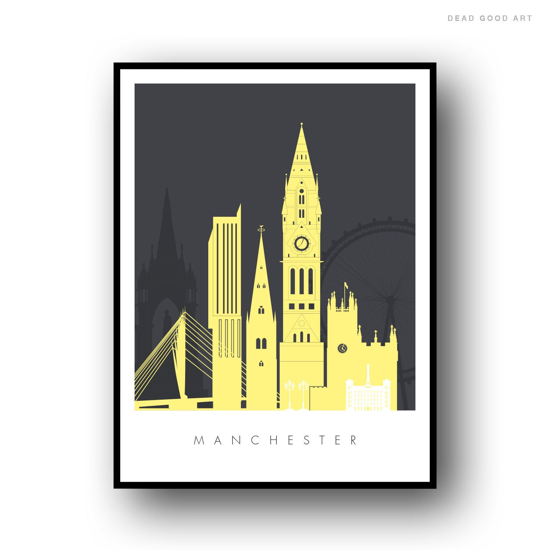 Manchester City Skyline Art Print Wall Poster Contemporary Decor