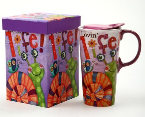 CYPRESS HOME Tall Car Mug 17 oz Ceramic Lid Lovin Life With Gift