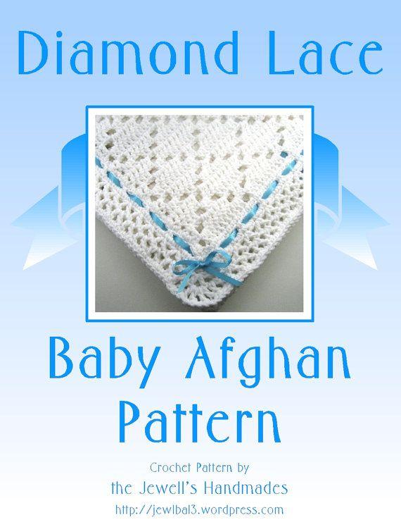 PDF Pattern Crocheted Baby Afghan, DIAMOND LACE Baby Afghan Blanket ...