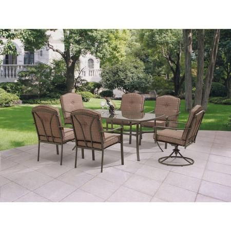 Mainstays Woodland Hills 7-Piece Dining Set, Dark Brown | Outdoor ...