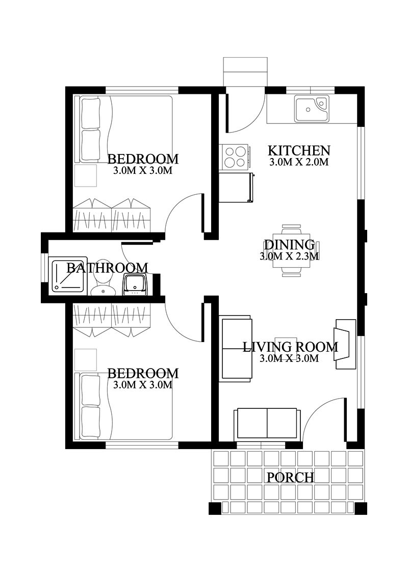 5 Small And Simple 2 Bedroom House Designs With Floor Plans Small House Design Philippines Small House Design Floor Plan Simple House Design