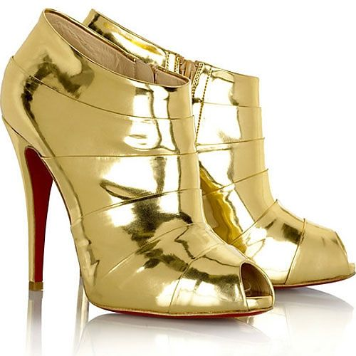 5d302afc54f3 Christian Louboutin Shellack Boots Gold
