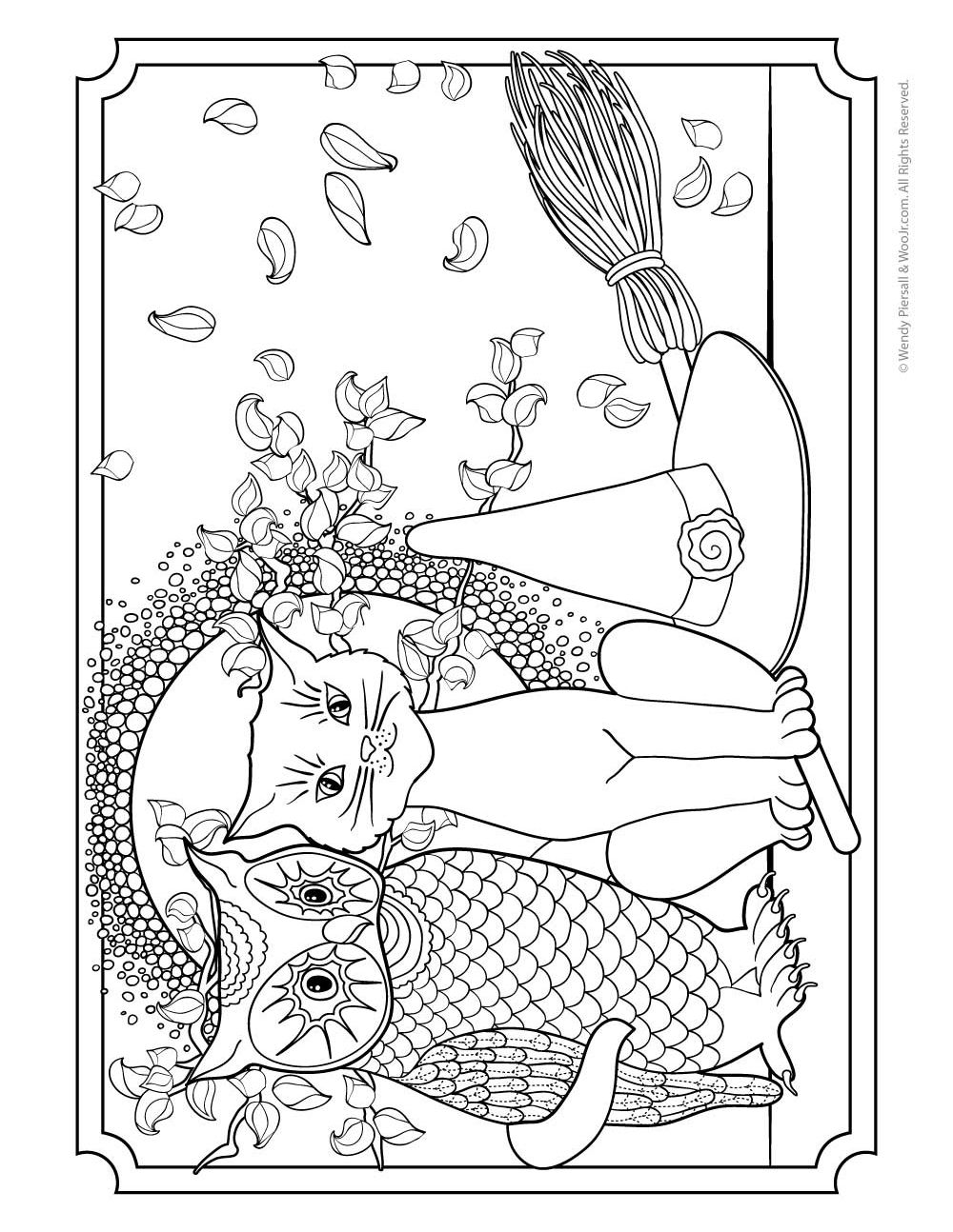 Owl Pussycat and Witches Hat Adult Coloring Page to Print