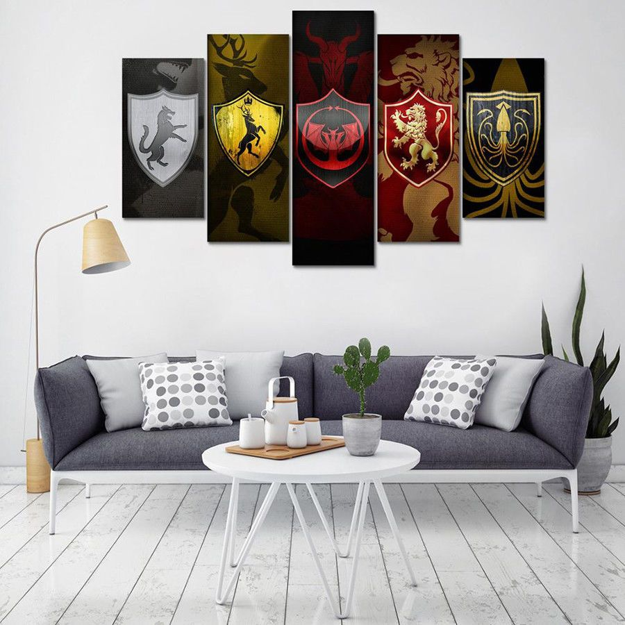 Game of Thrones Poster Canvas 5pcs HD Oil Prints Painting Wall Art ...