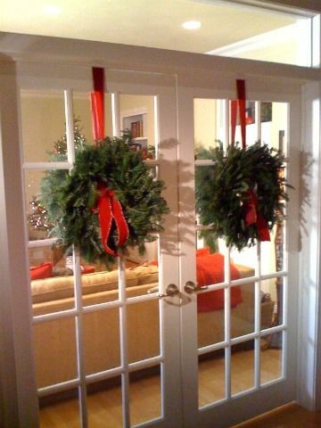 Wreaths On French Doors French Doors Winter And Christmas