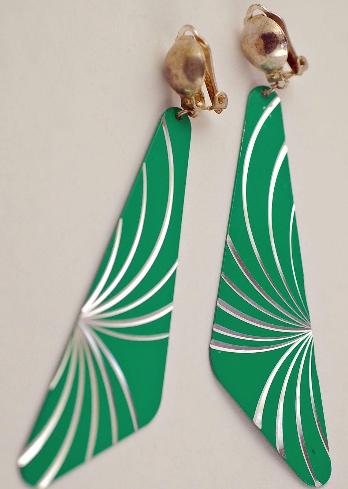 Vintage Geometric Long Dangle Starburst Enamel Earrings Fun Green Party Wear   eBay