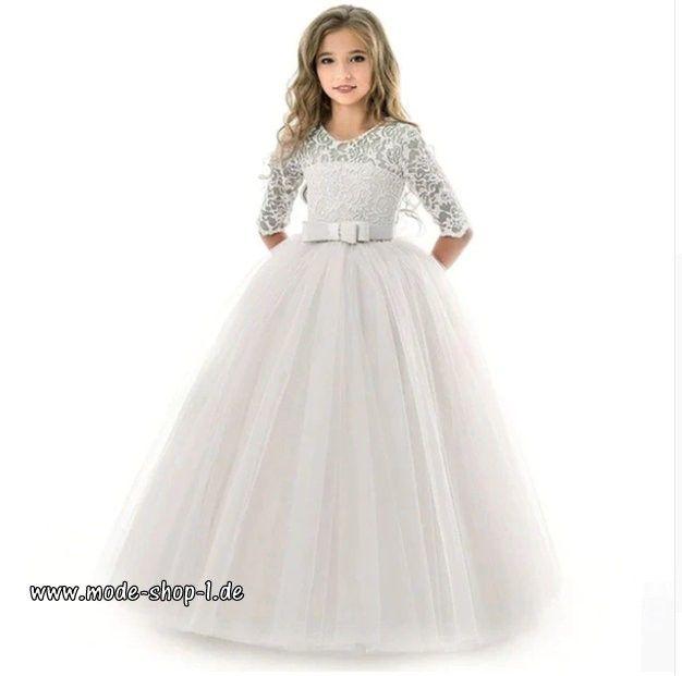 elegantes highend mädchenkleid mit spitze in weiß