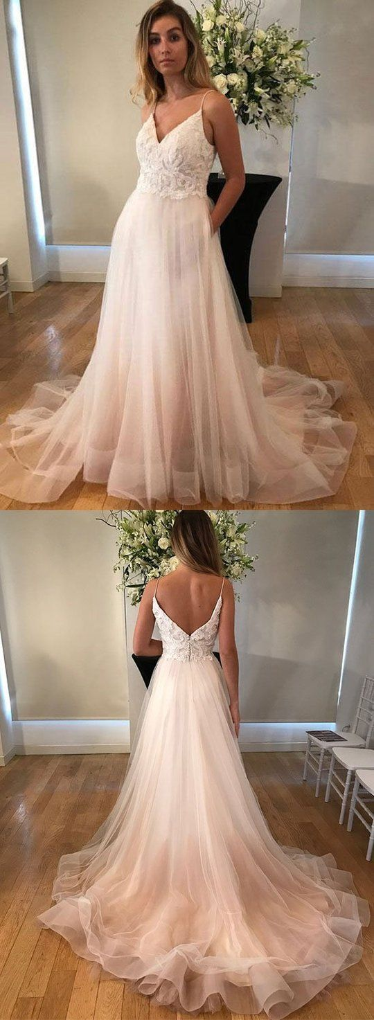 Fairy a line v neck open back ivory tulle lace long wedding dresses