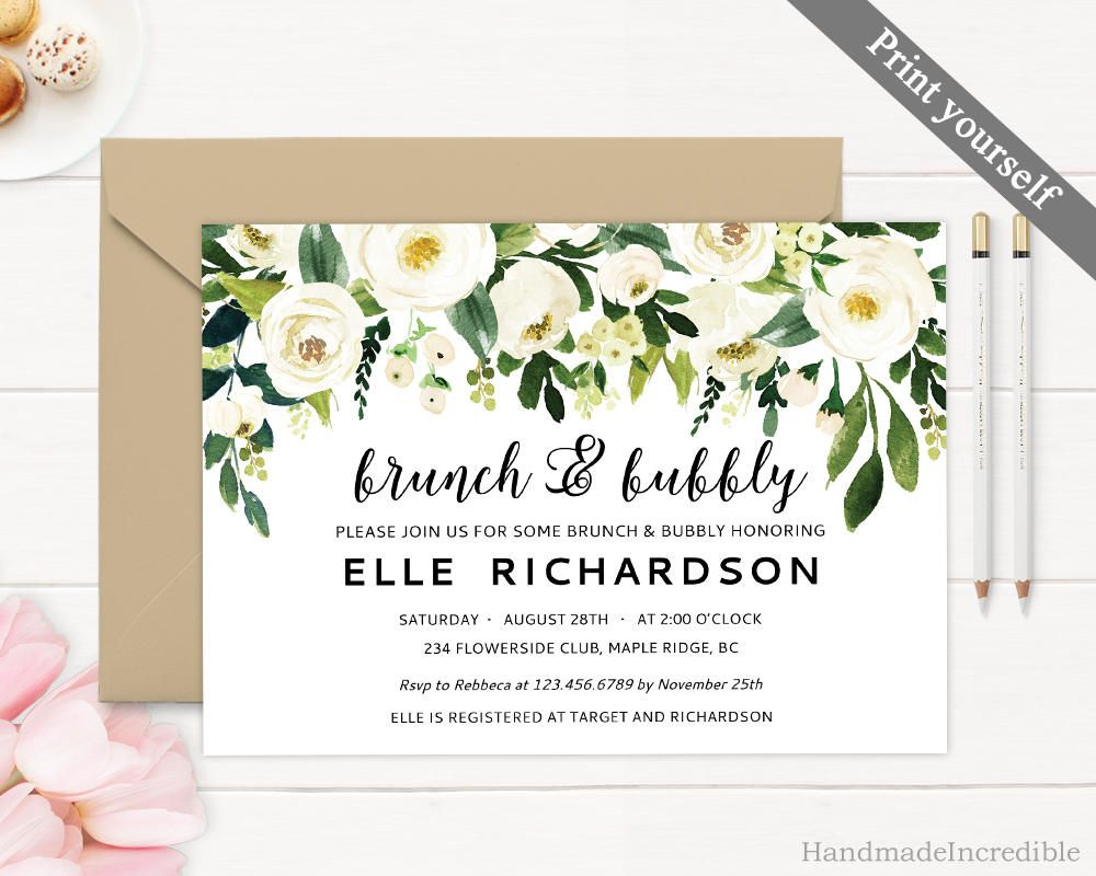 25afb32cdb40 Brunch and Bubbly Invitation Template. Printable Floral Bridal Shower  Invitation. White Flower Greenery Gold