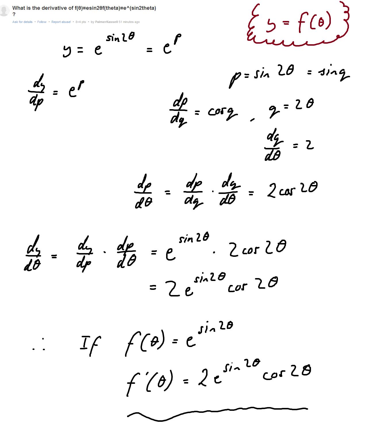 Derivative Of E Sin 2theta