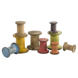 """Multicolored bobbin decor set with distressed details.  Product: 9 Piece décor setConstruction Material: MDF and fir woodColor: MultiFeatures: Add a little bit of whimsy with wood bobbin spoolsDimensions: 2.75"""" H (large)"""