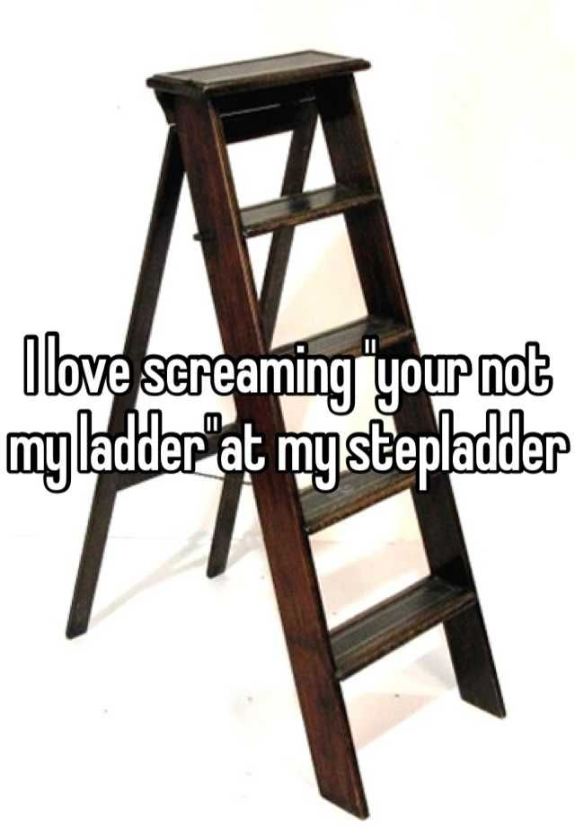 "I love screaming ""your not my ladder""at my stepladder"