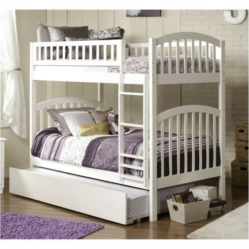 Bowery Hill Bunk Twin Over Twin With Trundle In White Bunk Bed