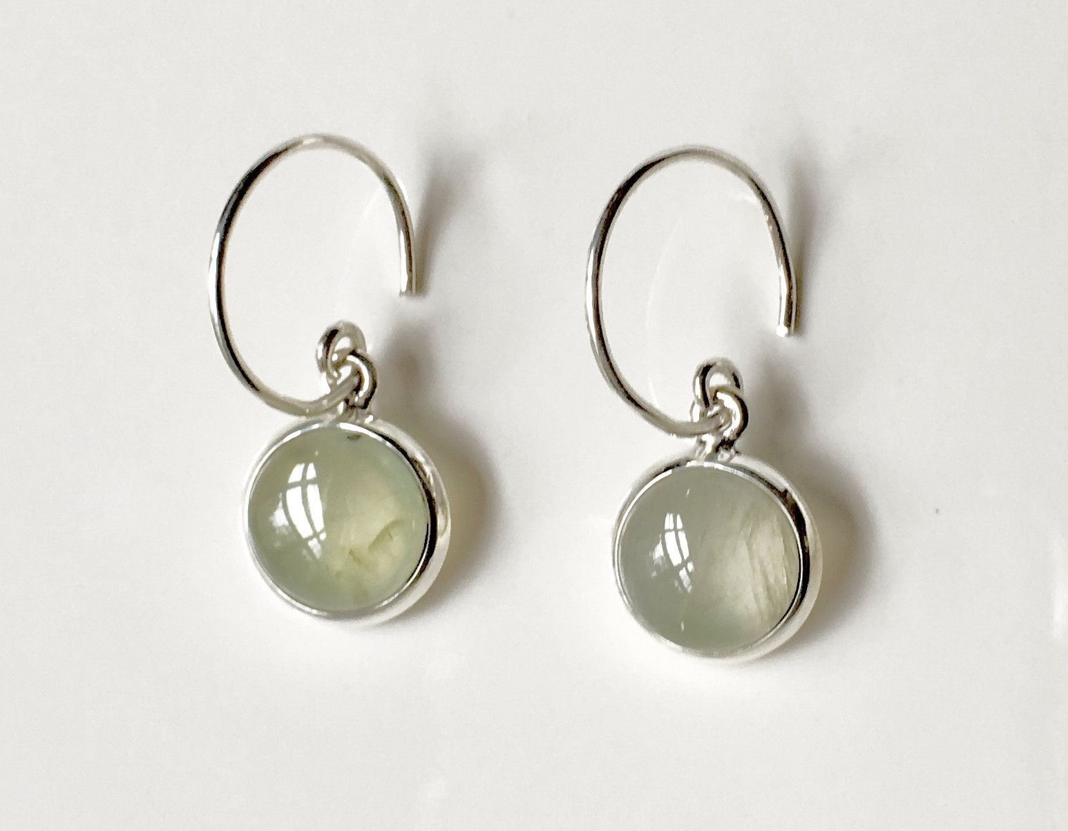 Silver Satellites Prehnite Earrings