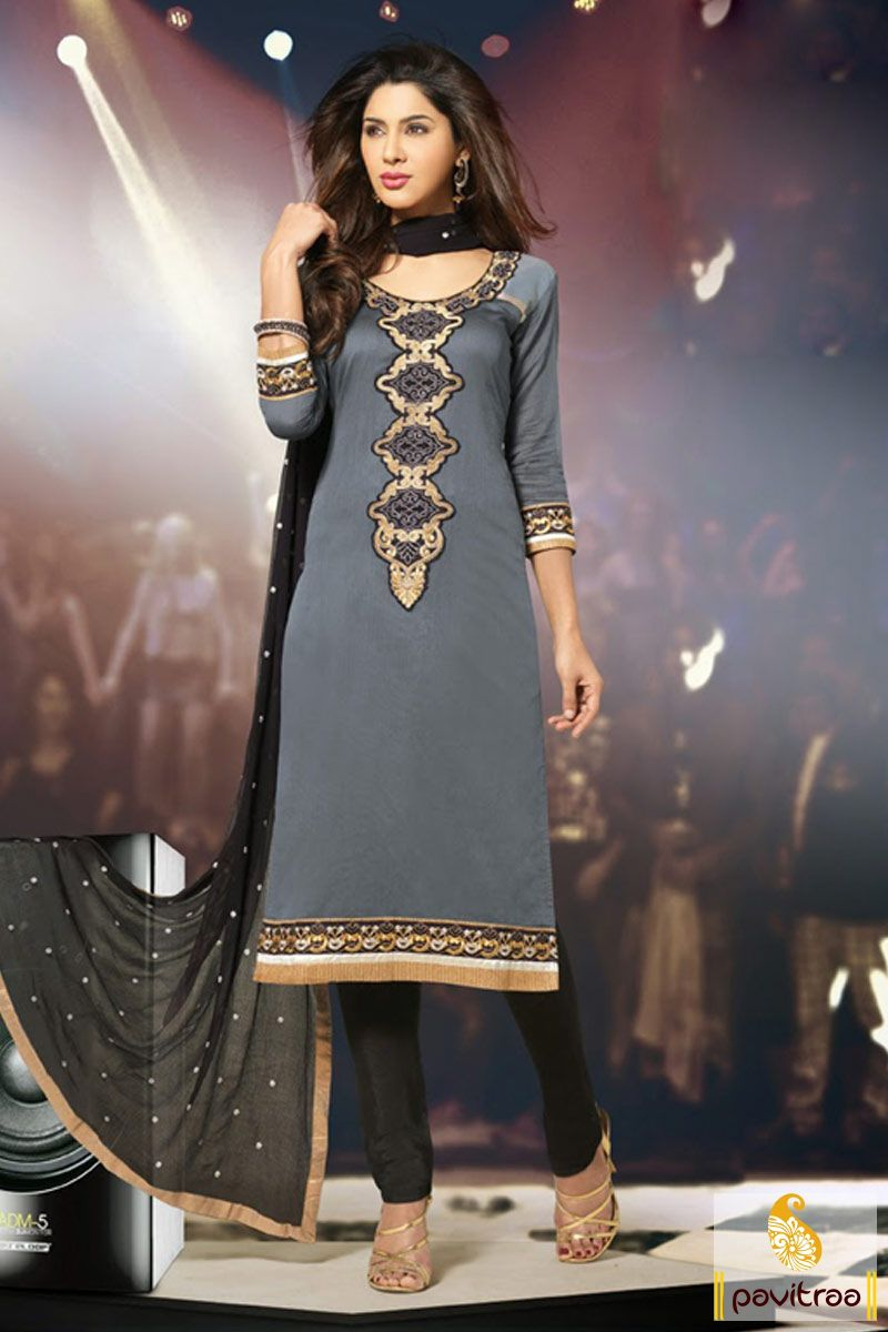 Grey black party wear Salwar Suit is made great with attractive embroidery works and lace patti works. It is made up of chiffon and jacquard materials. #salwarsuits #longsalwarsuits #designersalwarsuits #embroiderysalwarsuits #pakistanisalwarsuits #onlinesalwarsuits #salwarkameez