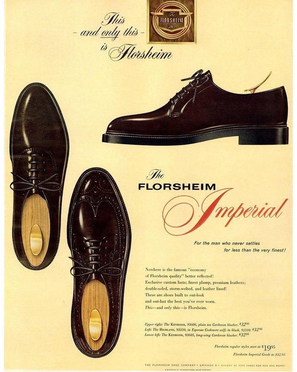 1961 Florsheim Imperial 93605 Dress Shoes Men Vintage Shoes Shoes Ads