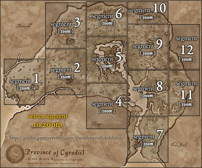 Oblivion Locations Detailed Map Es Iv Oblivion Elder Scrolls