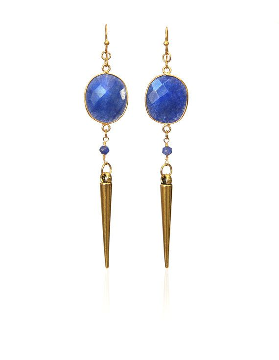 Sapphire and goldplated spike drop earrings by rosehipjewelry, $35.00