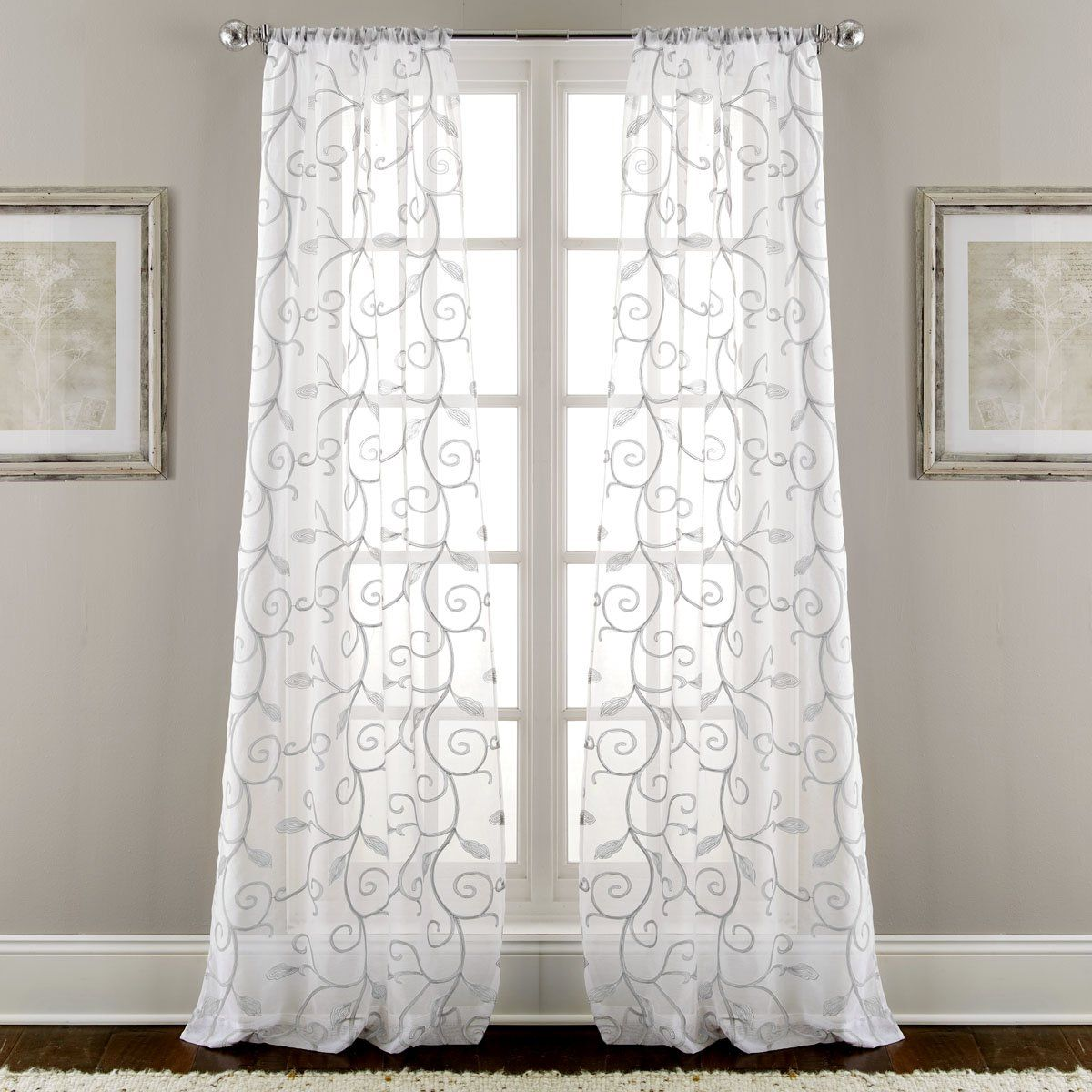 Lindsey Embroidered Floral Sheer Rod Pocket Curtain Panels Panel