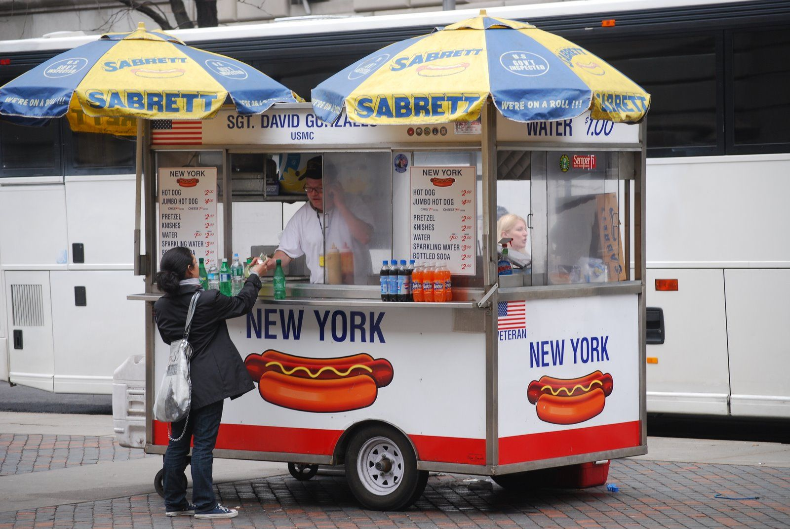 Street Photography New York Hotdog Cart Vendor Visiting Nyc