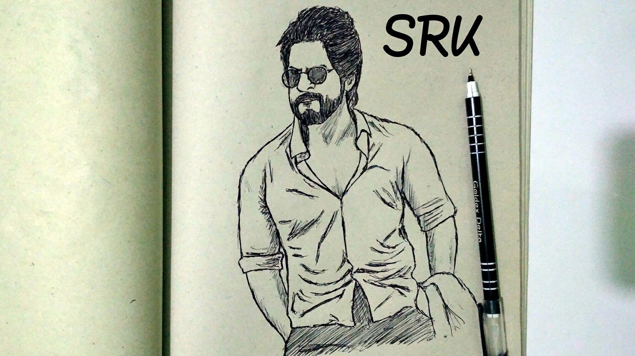 Shahrukh Khan Sketch Male sketch, Art, Shahrukh khan